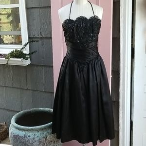 Gunne Sax Black Prom Dress 80s/90s